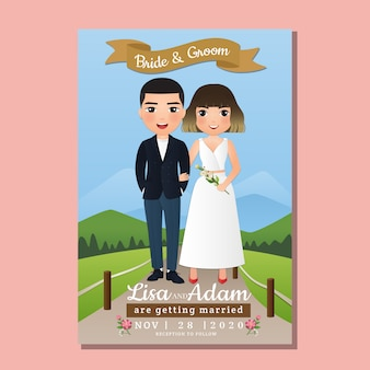 Cartão de convite de casamento dos desenhos animados de casal bonito dos noivos com paisagem bonita no fundo do tempo de primavera