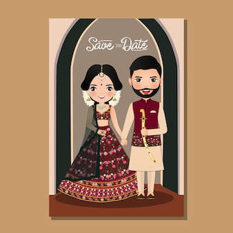 Cartão de convite de casamento dos noivos casal fofo no vestido tradicional indiano personagem de desenho animado.