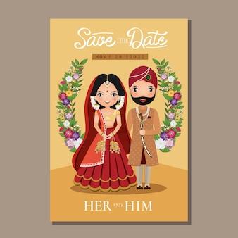 Cartão de convite de casamento dos noivos no vestido tradicional indiano ilustração de personagem de desenho animado