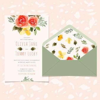 Cartão de convite de casamento e envelope com linda flor aquarela