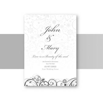 Cartão de convite de casamento elegante abstrata