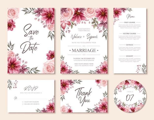 Cartão de convite de casamento elegante aquarela floral