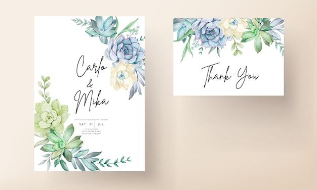 Cartão de convite de casamento elegante com aquarela linda flor suculenta