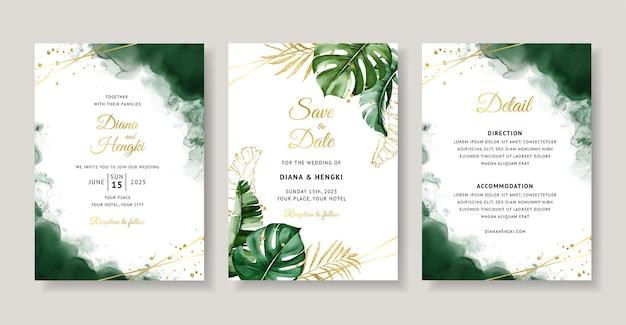 Cartão de convite de casamento elegante com aquarela tropical verde
