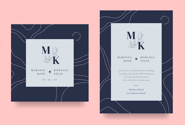 Cartão de convite de casamento elegante com arte de linha abstrata