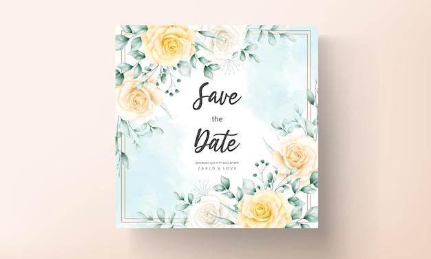 Cartão de convite de casamento elegante com bela aquarela floral