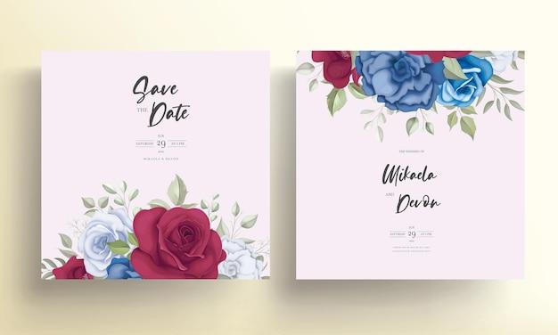 Cartão de convite de casamento elegante com bela decoração de flores