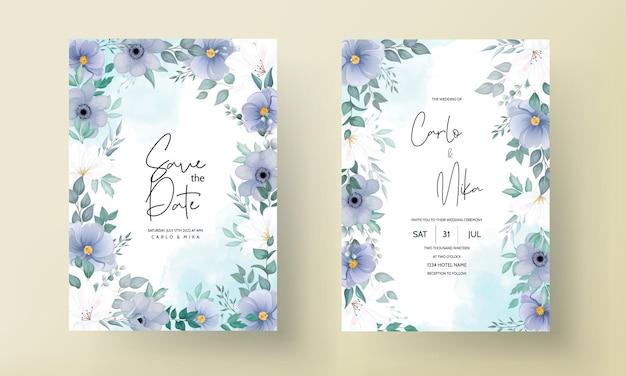Cartão de convite de casamento elegante com belas decorações de flores