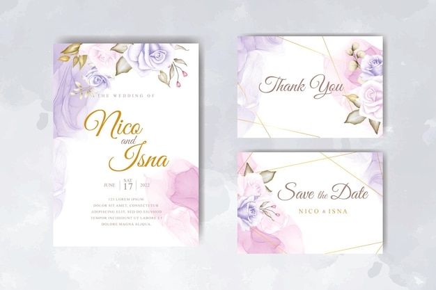 Cartão de convite de casamento elegante com belas flores em aquarela