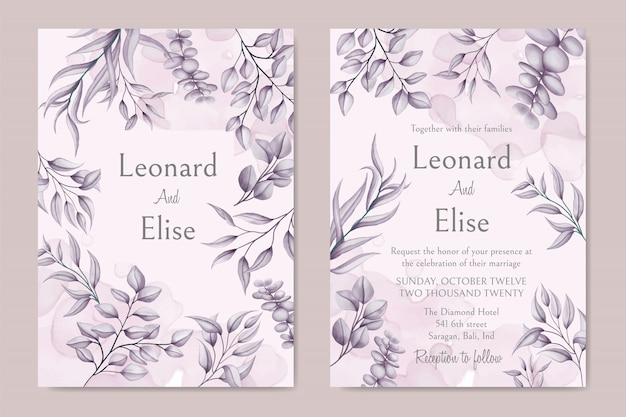 Cartão de convite de casamento elegante com capa floral