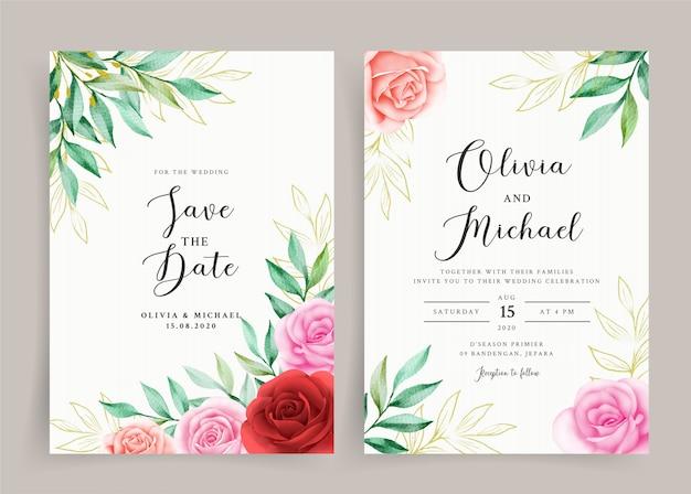 Cartão de convite de casamento elegante com coroa de flores em aquarela floral