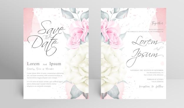 Cartão de convite de casamento elegante com detalhes florais e aquarela