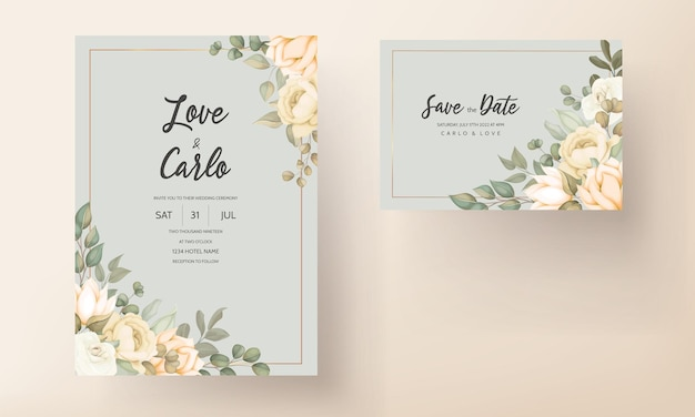 Cartão de convite de casamento elegante com enfeites florais