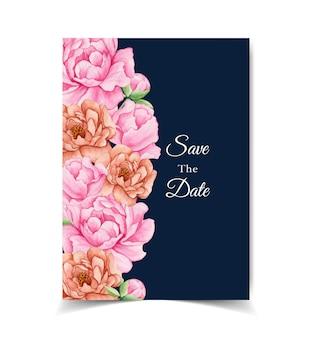 Cartão de convite de casamento elegante com flores cor de rosa