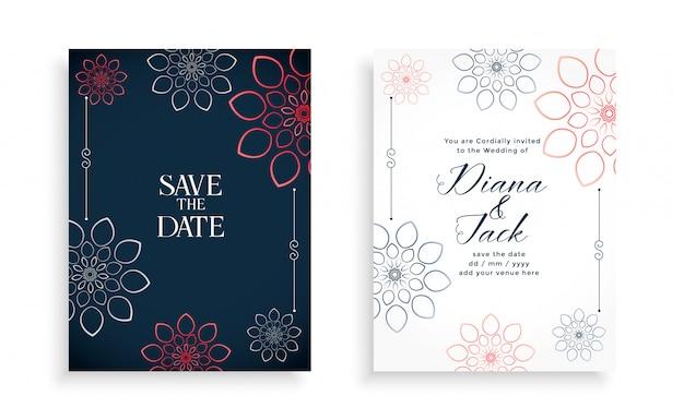 Cartão de convite de casamento elegante com flores de linha