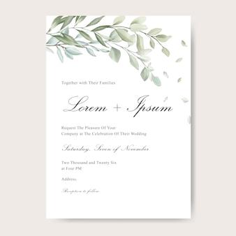 Cartão de convite de casamento elegante com folha em aquarela