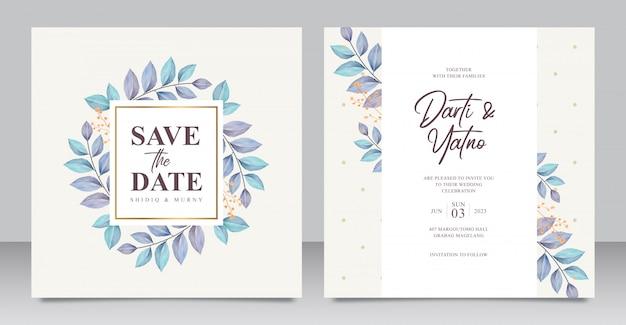 Cartão de convite de casamento elegante com folhas bonitas aquarel