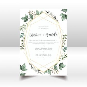 Cartão de convite de casamento elegante com folhas de aquarela