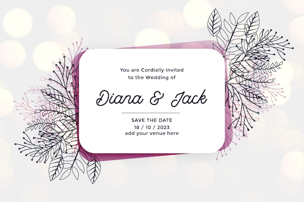 Cartão de convite de casamento elegante com folhas de linha e florais