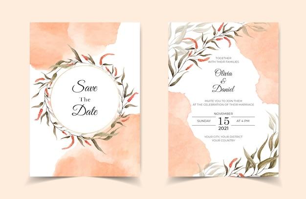 Cartão de convite de casamento elegante com folhas e respingos