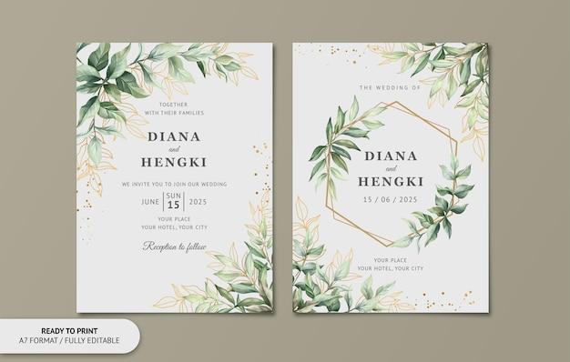 Cartão de convite de casamento elegante com folhas em aquarela de ouro