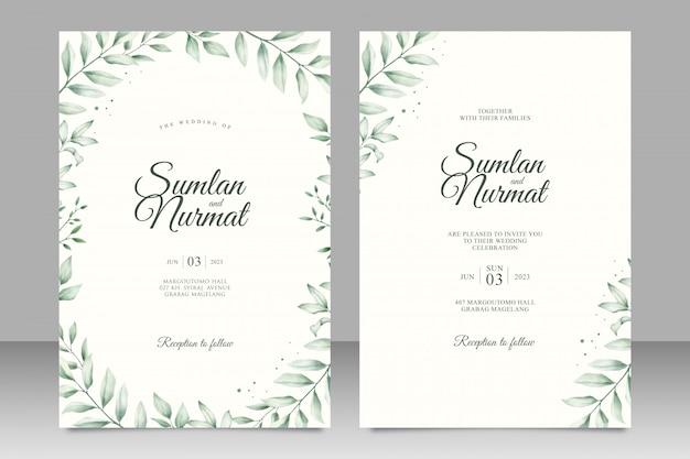 Cartão de convite de casamento elegante com folhas em aquarela