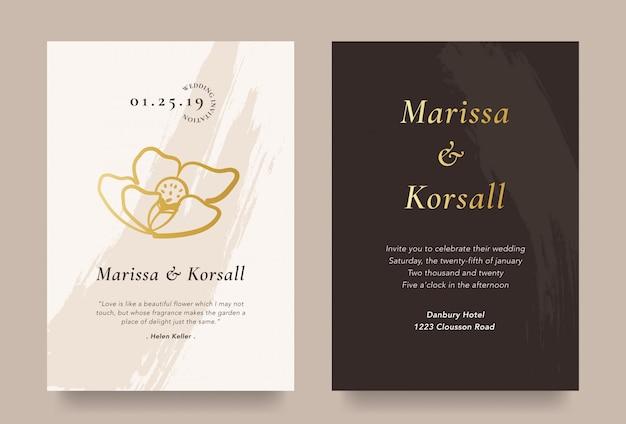 Cartão de convite de casamento elegante com ilustração de flores de ouro