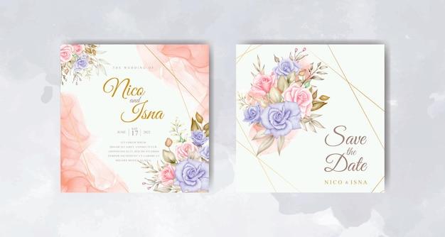 Cartão de convite de casamento elegante com lindas flores em aquarela e folhas