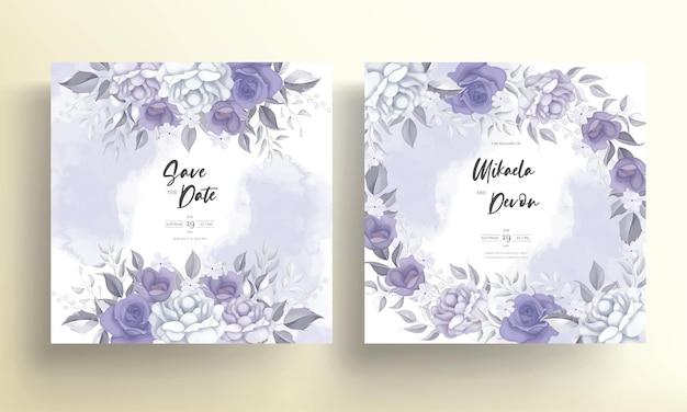 Cartão de convite de casamento elegante com lindas flores roxas