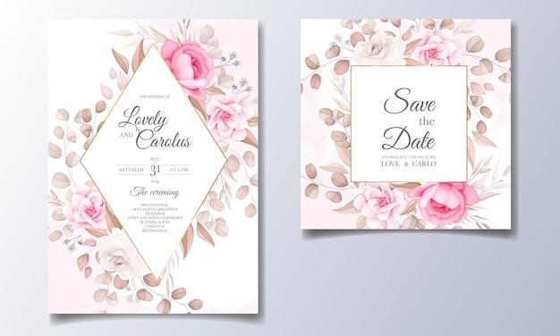 Cartão de convite de casamento elegante com lindas flores