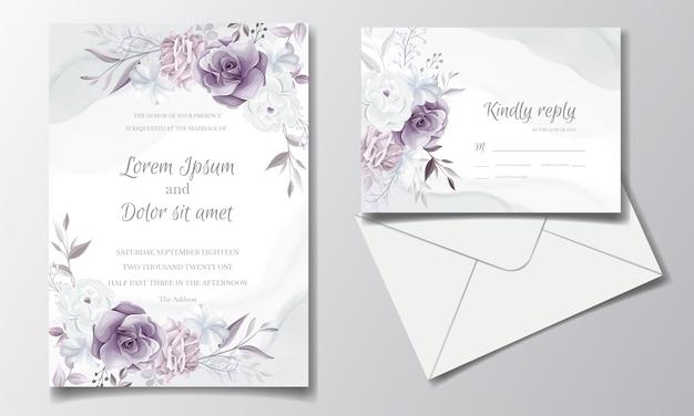 Cartão de convite de casamento elegante com lindo floral roxo e branco