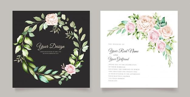 Cartão de convite de casamento elegante com lindo floral