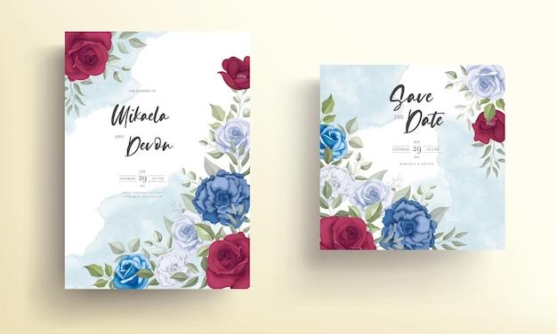 Cartão de convite de casamento elegante com lindos enfeites florais