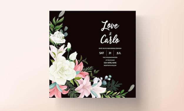 Cartão de convite de casamento elegante com mão desenhando flores e folhas macias