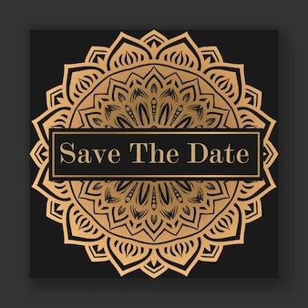 Cartão de convite de casamento elegante com modelo de mandala