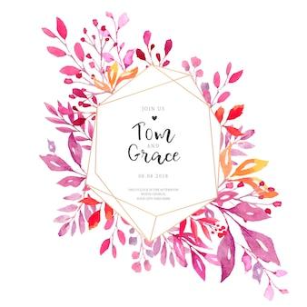 Cartão de convite de casamento elegante com moldura poligonal