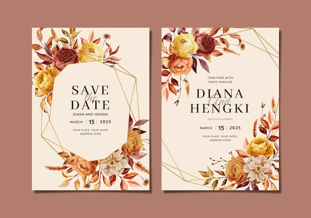 Cartão de convite de casamento elegante com natureza de outono