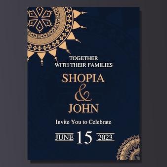 Cartão de convite de casamento elegante com ornamento de mandala.