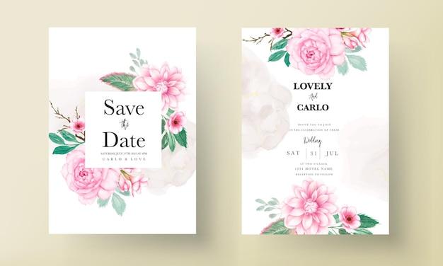 Cartão de convite de casamento elegante com ornamento floral aquarela rosa suave