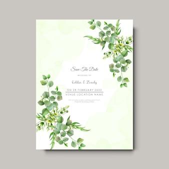 Cartão de convite de casamento elegante com ramo de eucalipto