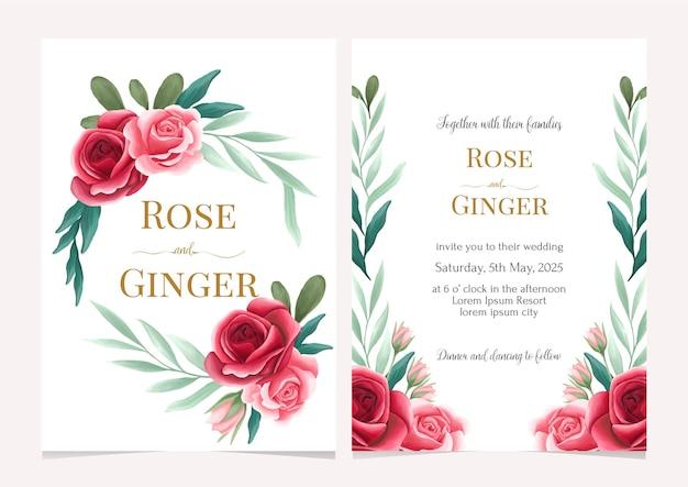 Cartão de convite de casamento elegante com rosa