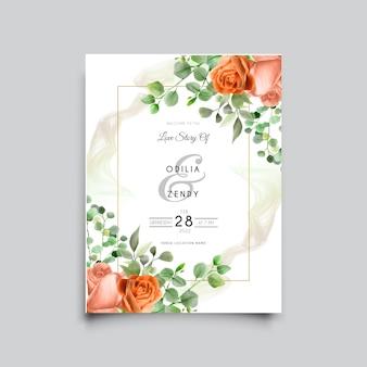 Cartão de convite de casamento elegante com rosas laranja desenhadas à mão