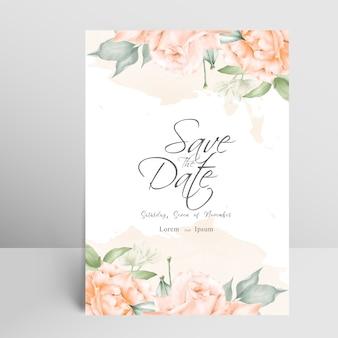 Cartão de convite de casamento elegante com toques florais e aquarela