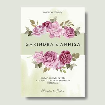 Cartão de convite de casamento elegante com um lindo modelo de flores e folhas