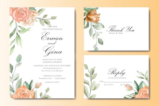 Cartão de convite de casamento elegante conjunto com aquarela floral e folhas