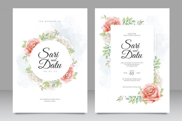 Cartão de convite de casamento elegante conjunto com aquarela floral