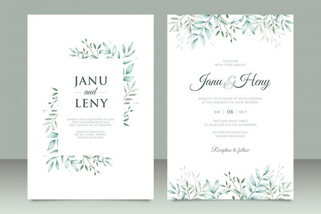 Cartão de convite de casamento elegante conjunto com folhas bonitas em aquarela