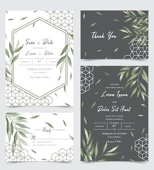 Cartão de convite de casamento elegante conjunto com folhas de aquarela