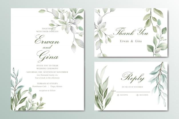 Cartão de convite de casamento elegante conjunto com folhas em aquarela