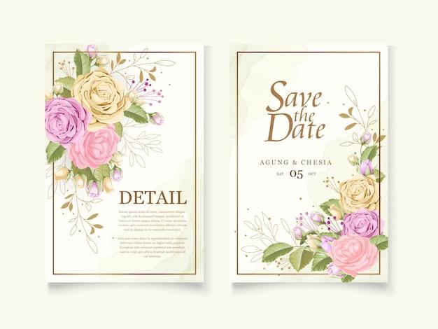 Cartão de convite de casamento elegante conjunto com rosa
